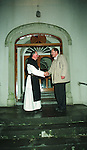 Fr. Gabriel of St. Josephs Monastry in Roscrea Co. Tipperary welcoming a visitor to the Monastry. Visitors now stay in the Monastry to help pay the up Keep