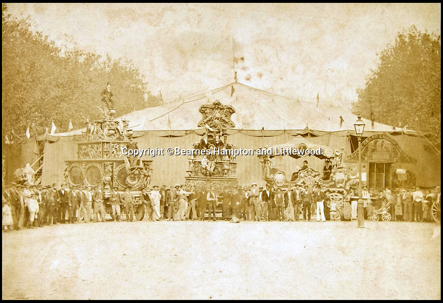 BNPS.co.uk (01202 558833)<br /> Pic: BearnesHampton&Littlewood/BNPS<br /> <br /> International fame - Lord George's circus Huge Big Top in Lyon, France, in 1879.<br /> <br /> A fascinating archive of photographs and documents relating to Britain's 'Greatest Showman' has emerged for sale.<br /> <br /> Lord George Sanger established one of the very first circus shows in Victorian times and was the British equivalent of P.T Barnum, the subject of the hit musical movie The Greatest Showman.<br /> <br /> Now an archive that includes black and white photos of crowds of people gathered outside a huge circus tent in Margate as well one of five elephants lined up outside the same venue is available for sale at auction in Devon.