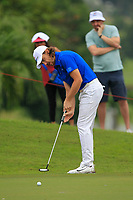 Tommy Fleetwood (Europe) on the 8th green during the Friday Foursomes of the Eurasia Cup at Glenmarie Golf and Country Club on the 12th January 2018.<br /> Picture:  Thos Caffrey / www.golffile.ie