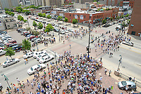 08 June 2008: Fans approach Coors Field from the corner of Blake Street and 20th avenue outside of the home plate entrance (Gate D) to the stadium before a regular season game between the Milwaukee Brewers and the Colorado Rockies at Coors Field in Denver, Colorado.*****For editorial use only*****