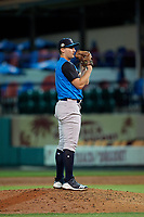 Tampa Tarpons relief pitcher Dalton Lehnen (17) during a Florida State League game against the Lakeland Flying Tigers on April 5, 2019 at Publix Field at Joker Marchant Stadium in Lakeland, Florida.  Lakeland defeated Tampa 5-3.  (Mike Janes/Four Seam Images)