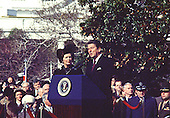 """Washington, DC - (FILE) -- United States President Ronald Reagan makes remarks as he welcomes Prime Minister Margaret Thatcher of Great Britain for her first official visit of his presidency on the South Lawn of the White House in Washington, D.C. on Thursday, February 26, 1981..Credit: Benjamin E. """"Gene"""" Forte - CNP"""