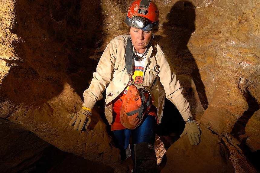 9:55 AM, Sunday, May 1, 2005. Dr. Louise Hose emerges from a passage in Spider Cave in Carlsbad Caverns National Park, New Mexico.
