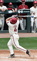 NWA Democrat-Gazette/CHARLIE KAIJO Arkansas Razorbacks infielder Trevor Ezell (4) gets hit during game two of the College Baseball Super Regional, Sunday, June 9, 2019 at Baum-Walker Stadium in Fayetteville. Ole Miss forces a game three with a 13-5 win over the Razorbacks