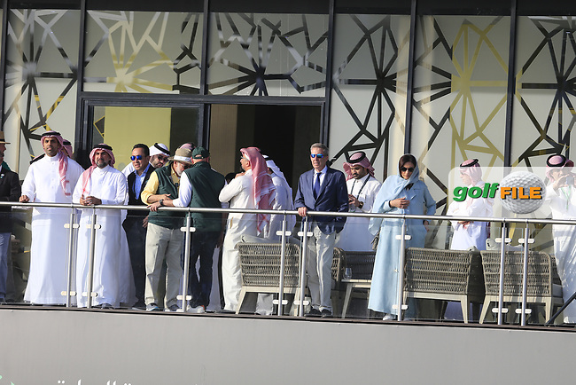 Guests watching the action on the 18th green during the final round of  the Saudi International powered by Softbank Investment Advisers, Royal Greens G&CC, King Abdullah Economic City,  Saudi Arabia. 02/02/2020<br /> Picture: Golffile | Fran Caffrey<br /> <br /> <br /> All photo usage must carry mandatory copyright credit (© Golffile | Fran Caffrey)