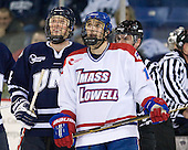 Damon Kipp (UNH - 4), Matt Ferreira (Lowell - 17), Wayne Silva - The visiting University of New Hampshire Wildcats defeated the University of Massachusetts-Lowell River Hawks 3-0 on Thursday, December 2, 2010, at Tsongas Arena in Lowell, Massachusetts.