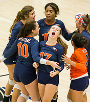 NWA Democrat-Gazette/BEN GOFF @NWABENGOFF<br /> Rogers Heritage players celebrate a point in the 1st set vs Bentonville West Thursday, Sept. 13, 2018, at War Eagle Arena in Rogers.