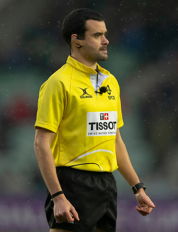Referee Pierre Brousset<br /> <br /> Photographer Bob Bradford/CameraSport<br /> <br /> European Rugby Challenge Cup Pool 5 - Harlequins v Benetton Treviso - Saturday 15th December 2018 - Twickenham Stoop - London<br /> <br /> World Copyright © 2018 CameraSport. All rights reserved. 43 Linden Ave. Countesthorpe. Leicester. England. LE8 5PG - Tel: +44 (0) 116 277 4147 - admin@camerasport.com - www.camerasport.com