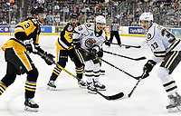 HERSHEY, PA - NOVEMBER 28: Wilkes-Barre/Scranton Penguins defenseman Tim Erixon (3) and right wing Ryan Haggerty (39) and Hershey Bears left wing Shane Gersich (10) and defenseman Tobias Geisser (33) watch as a puck flies toward the end boards during the Wilkes-Barre/Scranton Penguins at Hershey Bears on November 28, 2018 at the Giant Center in Hershey, PA. (Photo by Randy Litzinger/Icon Sportswire)