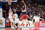 Real Madrid's Gustavo Ayon, Sergio Llull and Jaycee Carroll and FC Barcelona Lassa's Petteri Koponen duringTurkish Airlines Euroleague match between Real Madrid and FC Barcelona Lassa at Wizink Center in Madrid, Spain. March 22, 2017. (ALTERPHOTOS/BorjaB.Hojas)