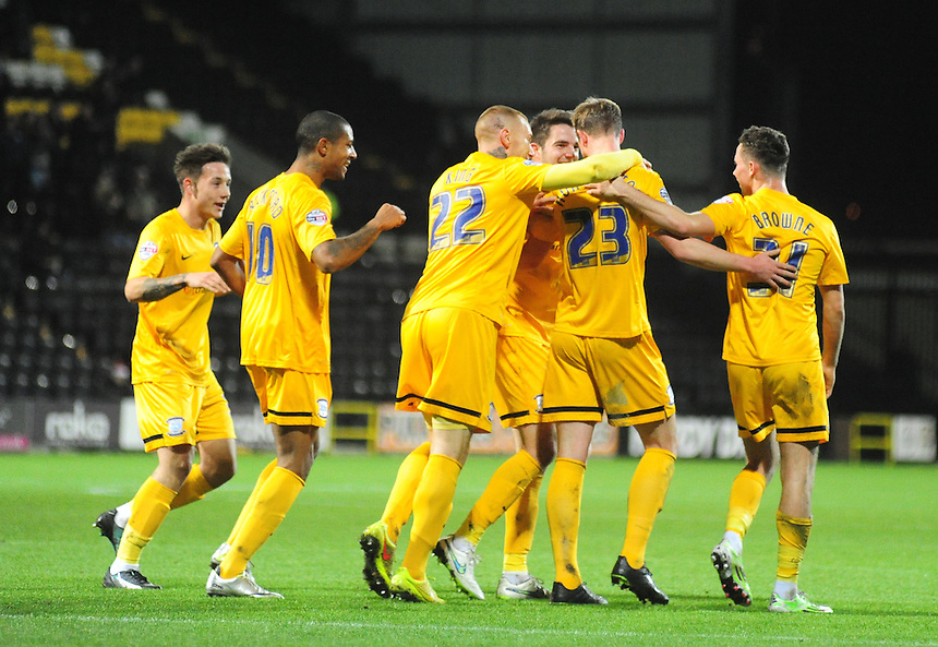 Preston North End's Paul Huntington celebrates scoring his sides first goal with team mates<br /> <br /> Photographer Andrew Vaughan/CameraSport<br /> <br /> Football - Johnstone's Paint Trophy - Northern Area Semi Final - Notts County v Preston North End - Tuesday 16th December 2014 - Meadow Lane - Nottingham<br />  <br /> &copy; CameraSport - 43 Linden Ave. Countesthorpe. Leicester. England. LE8 5PG - Tel: +44 (0) 116 277 4147 - admin@camerasport.com - www.camerasport.com