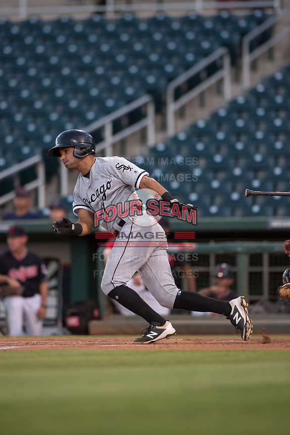 AZL White Sox designated hitter Camilo Quinteiro (1) starts down the first base line during an Arizona League game against the AZL Indians 1 at Goodyear Ballpark on June 20, 2018 in Goodyear, Arizona. AZL Indians 1 defeated AZL White Sox 8-7. (Zachary Lucy/Four Seam Images)