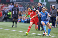 Portland, OR - Saturday June 17, 2017: Christine Sinclair, Christie Pearce during a regular season National Women's Soccer League (NWSL) match between the Portland Thorns FC and Sky Blue FC at Providence Park.