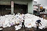 Tokyo, June 25 2013 - Recycling at tsukiji fish market.