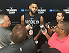 Allen Crabbe #33 of the Brooklyn Nets speaks with the media after team practice held at the HSS Training Center in Brooklyn, NY on Tuesday, Sept. 25, 2018.