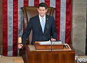 Incoming Speaker of the United States House of Representatives Paul Ryan (Republican of Wisconsin) calls the body to order for the first time in the US House Chamber in the US Capitol in Washington, DC on Thursday, October 29, 2015.<br /> Credit: Ron Sachs / CNP