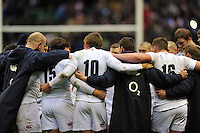 The England players huddle together after the match. RBS Six Nations match between England and Italy on March 10, 2013 at Twickenham Stadium in London, England. Photo by: Patrick Khachfe / Onside Images