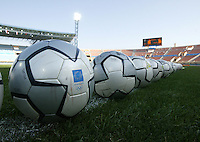 23 August 2004:   Athens 2004 soccer balls on the field before USA/Germany's semifinal game at Pankritio Stadium in Heraklio, Greece.     USA defeated Germany, 2-1 in overtime.   Credit: Michael Pimentel / ISI