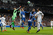 1st October 2017, Santiago Bernabeu, Madrid, Spain; La Liga football, Real Madrid versus Espanyol; Cristiano Ronaldo dos Santos (7) Real Madrid climbs highest above Pau Lopez (1) Espanyol to win the header