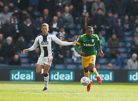Preston North End's Darnell Fisher and West Bromwich Albion's Dwight Gayle<br /> <br /> Photographer Stephen White/CameraSport<br /> <br /> The EFL Sky Bet Championship - West Bromwich Albion v Preston North End - Saturday 13th April 2019 - The Hawthorns - West Bromwich<br /> <br /> World Copyright © 2019 CameraSport. All rights reserved. 43 Linden Ave. Countesthorpe. Leicester. England. LE8 5PG - Tel: +44 (0) 116 277 4147 - admin@camerasport.com - www.camerasport.com