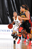 25 November 2011:  FIU guard Jerica Coley (22) drives to the basket in the second half as the University of Maryland Terrapins defeated the FIU Golden Panthers, 84-52, at the U.S. Century Bank Arena in Miami, Florida.
