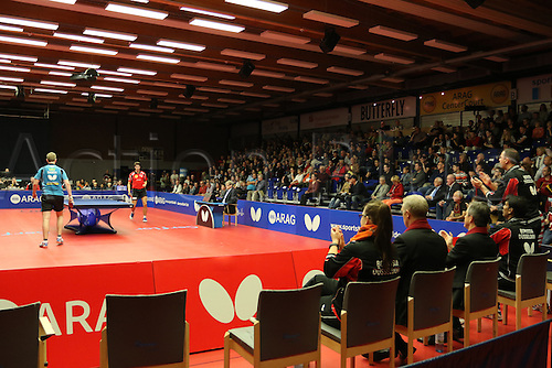 30.10.2015. Arag Centrecourt, Dusseldorf, Germany. Champions League Table Tennis. Group stage. Group D. Game 3. Borussia Dusseldorf versus Sten HB Ostrov. Centrecourt celebrates Patrick Franziska winning against Pavel Sirucek  in game 1.