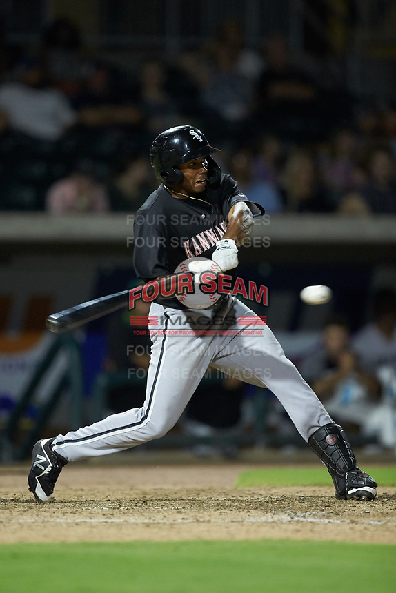 Bryce Bush (30) of the Kannapolis Intimidators at bat against the Augusta GreenJackets at SRG Park on July 6, 2019 in North Augusta, South Carolina. The Intimidators defeated the GreenJackets 9-5. (Brian Westerholt/Four Seam Images)