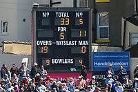 The scoreboard shows that Yorkshire have been reduced to 33 for 5 during Yorkshire CCC vs Essex CCC, Specsavers County Championship Division 1 Cricket at Scarborough CC, North Marine Road on 7th August 2017