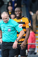 John Akinde of Barnet (right) during the Sky Bet League 2 match between Barnet and Luton Town at The Hive, London, England on 28 March 2016. Photo by David Horn.