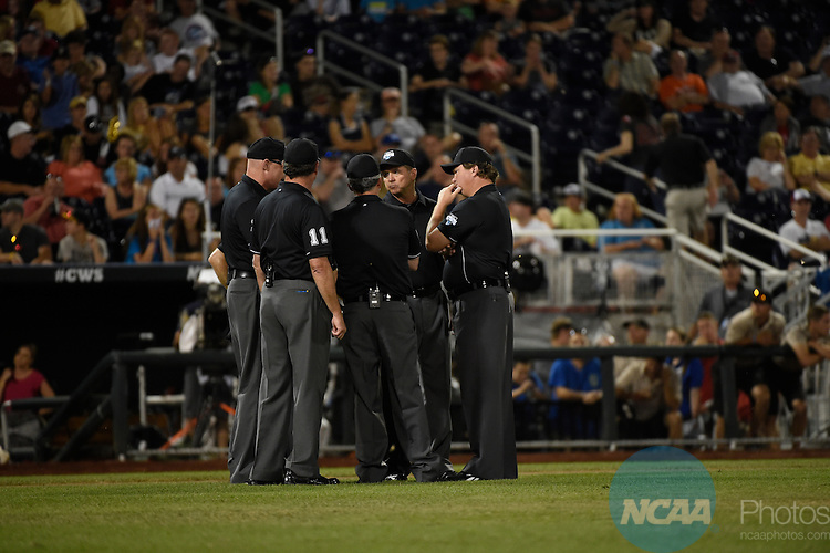 24 JUNE 2014:  The University of Virginia takes on Vanderbilt University during the Division I Men's Baseball Championship held at TD Ameritrade Park in Omaha, NE.  Jamie Schwaberow/NCAA Photos