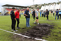 The match has been cancelled owing to the condition of one of the goalmouths. Players are back on the coach and heading to a different venue to play the game during Guatemala Under-23 vs England Under-20, Tournoi Maurice Revello Football at Stade Marcel Cerdan on 11th June 2019