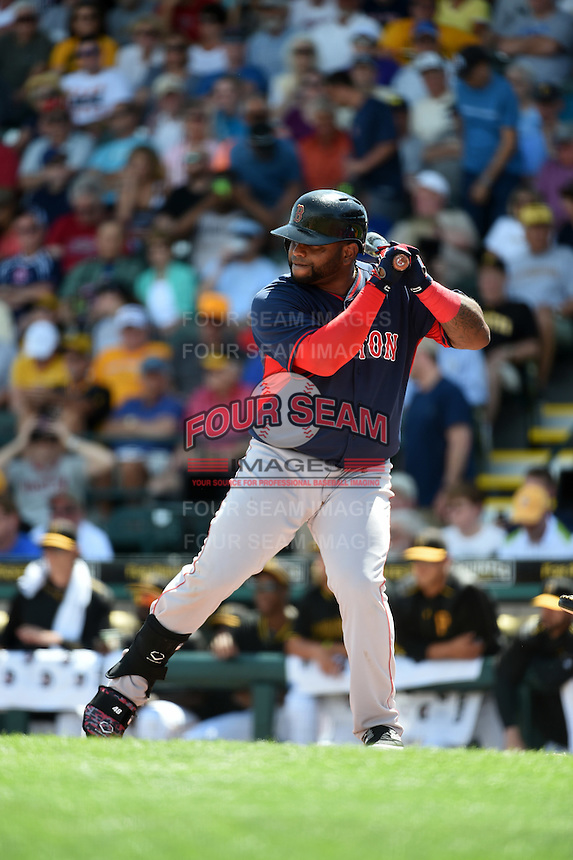 Boston Red Sox third baseman Pablo Sandoval (48) during a Spring Training game against the Pittsburgh Pirates on March 12, 2015 at McKechnie Field in Bradenton, Florida.  Boston defeated Pittsburgh 5-1.  (Mike Janes/Four Seam Images)