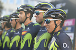 Nairo Quintana (COL) and Movistar Team at sign on before the start of the 111th edition of Il Lombardia 2017 &quot; The Race of the Falling Leaves&quot; the final monument of the season, running 247km from Bergamo to Como, Italy. 7th October 2017.<br /> Picture: LaPresse/Fabio Ferrari | Cyclefile<br /> <br /> <br /> All photos usage must carry mandatory copyright credit (&copy; Cyclefile | LaPresse/Fabio Ferrari)