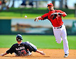 4 March 2011: Washington Nationals infielder Alberto Gonzalez turns a double play during Spring Training action against the Atlanta Braves at Space Coast Stadium in Viera, Florida. The Braves defeated the Nationals 6-4 in Grapefruit League action. Mandatory Credit: Ed Wolfstein Photo