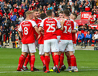 Fleetwood Town players celebrate Cian Bolger's opening goal<br /> <br /> Photographer Alex Dodd/CameraSport<br /> <br /> The EFL Sky Bet League One - Fleetwood Town v Accrington Stanley - Saturday 15th September 2018  - Highbury Stadium - Fleetwood<br /> <br /> World Copyright &copy; 2018 CameraSport. All rights reserved. 43 Linden Ave. Countesthorpe. Leicester. England. LE8 5PG - Tel: +44 (0) 116 277 4147 - admin@camerasport.com - www.camerasport.com