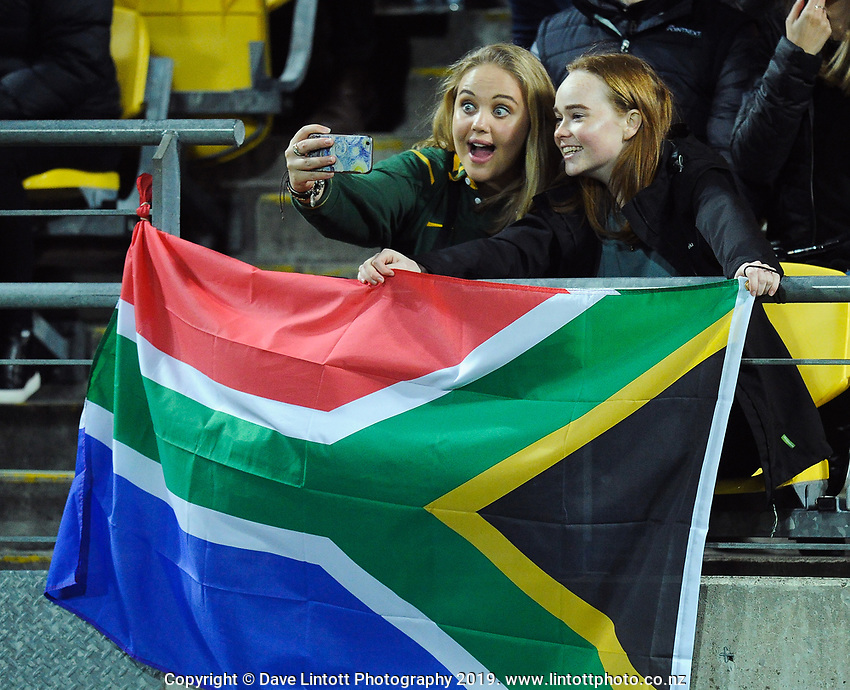 Fasn in the grandstand during the Rugby Championship rugby union match between the New Zealand All Blacks and South Africa Springboks at Westpac Stadium in Wellington, New Zealand on Saturday, 27 July 2019. Photo: Mike Moran / lintottphoto.co.nz
