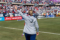 CHICAGO, IL - OCTOBER 6: Jill Ellis of the United States waves to the crowd during a game between Korea Republic and USWNT at Soldier Field on October 6, 2019 in Chicago, Illinois.