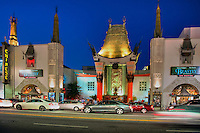Grauman's Chinese Theater, Hollywood Ca. Boulevard, Night, Dusk, Royal Blue Sky,  Lights, reflections