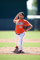 Baltimore Orioles pitcher Matthias Dietz (61) during an Instructional League game against the Boston Red Sox on September 22, 2016 at the Ed Smith Stadium in Sarasota, Florida.  (Mike Janes/Four Seam Images)