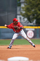 Harrisburg Senators third baseman Adrian Sanchez (8) throws to first during a game against the Erie Seawolves on August 30, 2015 at Jerry Uht Park in Erie, Pennsylvania.  Harrisburg defeated Erie 4-3.  (Mike Janes/Four Seam Images)