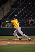 AZL Athletics right fielder Greg Deichmann (6) starts down the first base line during an Arizona League game against the AZL Angels at Tempe Diablo Stadium on June 26, 2018 in Tempe, Arizona. The AZL Athletics defeated the AZL Angels 7-1. (Zachary Lucy/Four Seam Images)