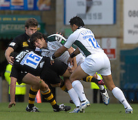 Wycombe, Great Britain, Exiles, GonzaloTIESI, turns over James BROOKS, during the EDF Energy, Anglo Welsh, rugby Cup match, London Wasps vs London Irish,  at Adams Park, England, 08/10/2006. [Photo, Peter Spurrier/Intersport-images]....