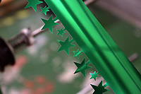 Pictured: Star-shaped tinsel on the factory floor. Thursday 16 November 2017<br /> Re: Festive company which manufactures tinsel in Cwmbran, Wales, UK.