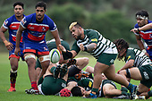 Gafatasi Su'a clears the ball from a ruck. Counties Manukau Premier Club Rugby game between Ardmore Marist and Manurewa, played at Bruce Pulman Park Papakura on Saturday May 12th 2018. Ardmore Marist won the game 20 - 3 after leading 17 - 3 at halftime.<br /> Ardmore Marist - Katetistoti Nginingini try, penalty try, Latiume Fosita conversion, Latiume Fosita 2 penalties.<br /> Manurewa - Logan Fonoti penalty.<br /> Photo by Richard Spranger.