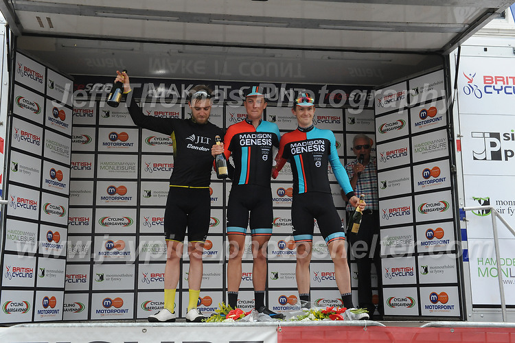 "Race winner Tom Stewart (c) and Erick Rowsell (r) both of the Madison Genesis racing team and Christopher Lawless(L) of racing team JLT Condor on the rostrum after competing in  the Abergavenny Festival of Cycling ""Grand Prix of Wales"" race on Sunday 17th 2016<br /> <br /> <br /> Jeff Thomas Photography -  www.jaypics.photoshelter.com - <br /> e-mail swansea1001@hotmail.co.uk -<br /> Mob: 07837 386244 -"