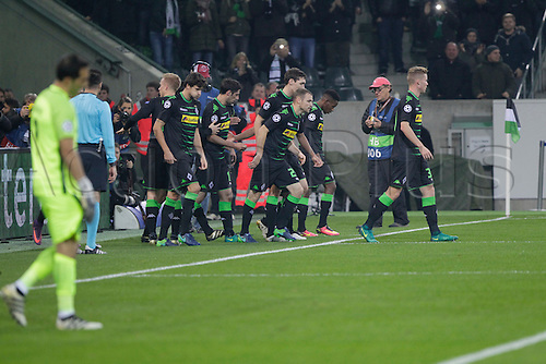 23.11.2016. Moenchengladbach, Germany. Team celebration for the goal from Raphael Borussia Monchengladbach during the UEFA Champions League football match between  Borussia Monchengladbach and  Manchester City at Borussia Park Stadium on 23 November 2016 in Monchengladbach