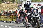 Tadej Pogacar (SLO) UAE Team Emirates in 11th place with 1km to go to the end of Stage 6 of La Vuelta 2019 running 198.9km from Mora de Rubielos to Ares del Maestrat, Spain. 29th August 2019.<br /> Picture: Colin Flockton | Cyclefile<br /> <br /> All photos usage must carry mandatory copyright credit (© Cyclefile | Colin Flockton)
