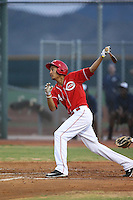 Jose Siri (4) of the AZL Reds bats during a game against the AZL Brewers at Cincinnati Reds Spring Training Complex on July 5, 2015 in Goodyear, Arizona. Reds defeated the Brewers, 9-4. (Larry Goren/Four Seam Images)