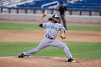 AZL Padres 2 relief pitcher Vijay Miller (14) delivers a pitch to the plate against the AZL Brewers on September 2, 2017 at Maryvale Baseball Park in Phoenix, Arizona. AZL Brewers defeated the AZL Padres 2 2-0. (Zachary Lucy/Four Seam Images)