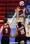 KENOSHA, WI - APRIL 28:  Springfield's Sean Zuvich blocks a spike from Stevens Institute's Thomas Burrell at the Division III Men's Volleyball Championship held at the Tarble Athletic and Recreation Center on April 28, 2018 in Kenosha, Wisconsin. (Photo by Steve Woltmann/NCAA Photos via Getty Images)